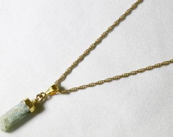 Aquamarine Point Pendant Raw Aquamarine Necklace Raw Stone Aquamarine Crystal Pendant One-of-a-Kind Stone Necklace Gold Top Aqua-P-101-011g