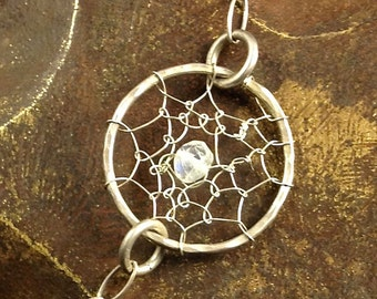 Sterling Silver Circle Dream Catcher Chain Moonstone Bracelet Boho Gypsy Jewelry