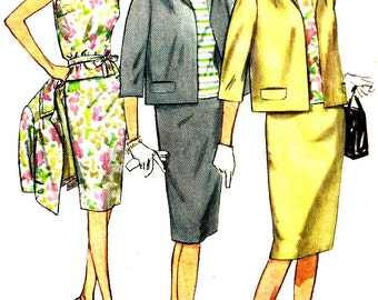 1960s Suit Pattern Overblouse Slim Skirt Jacket Simplicity Vintage Sewing Women's Misses Size 12 Bust 32 Inches