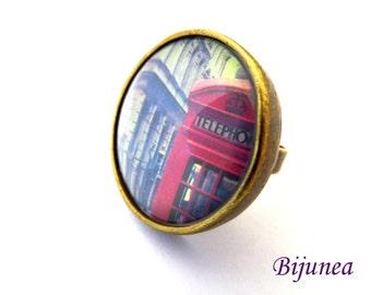 London flag ring - London ring - London ring - Telephone ring - United Kingdom country ring r962