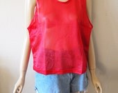 CHERRY // Vintage 90s Mesh Top Red Tank Top See Through Shirt Sporty 1990s Clothing Sheer Club Kid Cyber Goth Unisex Small