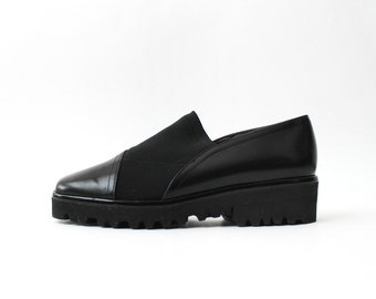 1990s Black Minimal Loafers Platforms