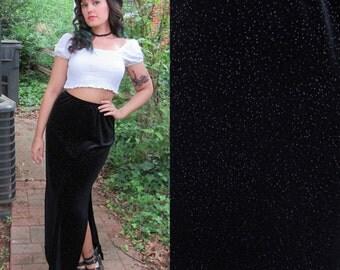 SALE 1990s Vintage Black Velvet Maxi Skirt with Silver Glitter Elastic Waist Stretch Skirt with Sexy Slit Bodycon Maxi Skirt Size Medium