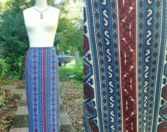 1970s Vintage Denim Maxi Skirt Pencil Wrap Tribal Striped Maxi Skirt Blue Navy Burgundy Folk Print Skirt Size Medium