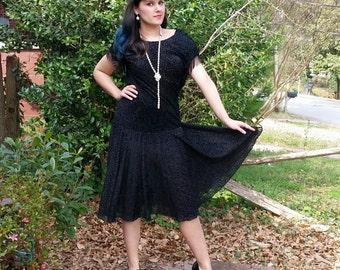1930s Style Black Velvet Drop Waist Flapper Dress Sparkle Black with Beaded Fringe Trumpet Mermaid Skirt Cowl Back Size Medium