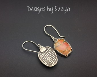 Peach Picasso Jasper and Sterling silver earrings