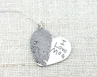 Fingerprint · Jewelry · Personalized Necklace · Gift · Memorial Necklace · ACTUAL Handwriting on Silver · Mom Jewelry · Valentine's Gift