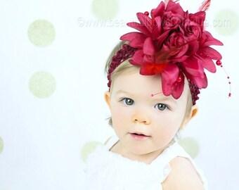 Baby Headbands,Flower Baby Headband,Maroon Burgandy Baby Headband,Baby Girl Headbands,Newborn Headband,Infant Headband, Flower Headbands