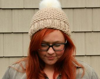 Faux Fur Pom Pom Textured Beanie Hat - Ecru and White
