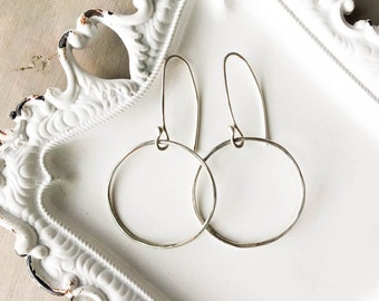 Circle Earrings, Sterling Silver, Minimalist, Classic Earrings, Dangles, Geometric Earrings, Simple, Light, Everyday Accessories,