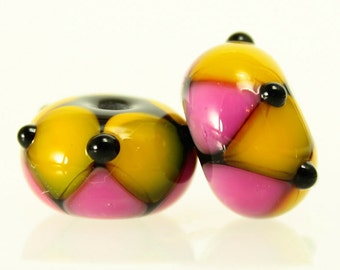 Made to Order, Handmade Lampwork Beads, Pink and Yellow Pair, SRA Beads, Donna Trull, Artisan Beads, Floral Beads, Glass Flowers
