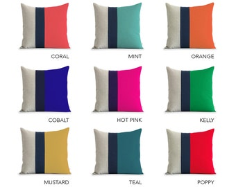 Custom Linen Color Block Pillow (20x20) Navy Striped Trio by JillianReneDecor