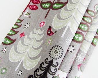 Folk Art Gray Forest Cotton Napkins / Set of 4 / Maroon, Green, Gray, White & Black Winter Holidays Table Decor / Eco-Friendly Gift Under 50