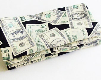 Money In Your Lap Cotton Napkins / Set of 4 / Green, White & Black Eco-Friendly Faux US Currency Table Decor / Unique Gift Under 50