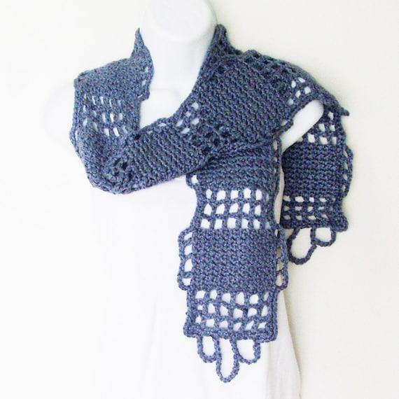 Denim Gray Geometric Scarf / City Grid Scarf / Windowpane / Unique Crochet Design / Gray Heather Yarn / OOAK Gift Under 75