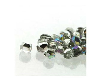 True2 Czech Firepolish Beads 2mm 18502 Crystal Silver Rainbow (2gr about 200 beads), Tiny Round Glass Beads, Faceted Glass Beads