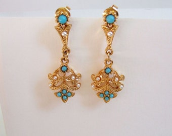 Victorian Style Drop Earrings with Faux Pearls and Turquoise - Ornate Vintage Golden Dangly Earrings