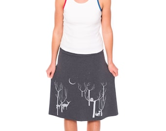 Women whimsical skirts, Plus size skirt for women, Plus size women's clothing, Strechy jersey skirts in XL/2XL/3XL- Woodland animals