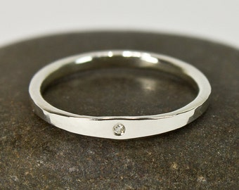 Minimalist Engagement Ring, Ethical Moissanite, Hammered Argentium Sterling Silver Simple Band Ring Size 4 4.5 5 5.5 6 6.5 7 7.5 8 8.5 9 10