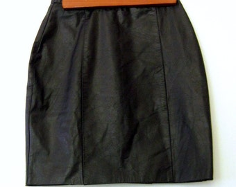 80s Leather Skirt / Black Leather Mini Skirt / BENETAR BLACK Mini Skirt