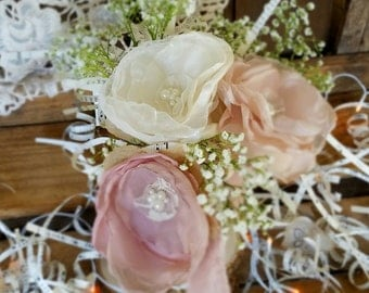 Mason Jar Flowers, Rustic Centerpiece, Wedding Centerpiece, fabric flowers, centerpiece flowers, reception table, Dusty rose flowers