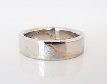 GOLD INLAY MOUNTAIN Ring, 8mm band, Handmade with Platinum & 22k Gold inlay or Palladium with 18k Gold Inlay, Platinum Wedding band