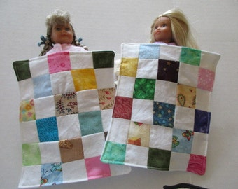 Doll Patchwork Quilt, made for Mini American Girl size dolls or other small dolls