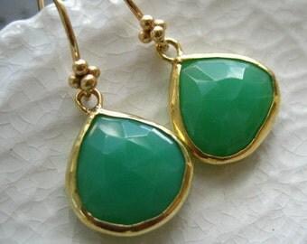 Chrysoprase Bezel Earrings-Minimalist Jewelry