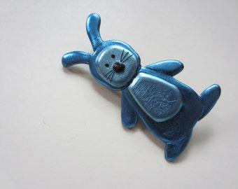 Little blue bunny rabbit pin brooch