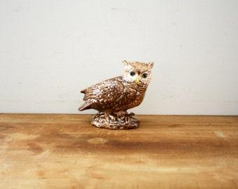 vintage 80s Hoot Owl Ceramic Planter Woodland Perfect  // Retro Shelf Decor