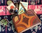 SALE | Rare Vintage 1960s Op Art Genuine Leather Purse | Mesa Sunset Mod Pieced Frame Box Bag Medium Handbag | vtg ACCESSORIES | FOUND byLB