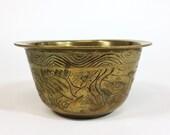 Vintage Brass Dish | Altar Bowl | Hand Carved Etched Animals Shrine Offering Incense Metal Golden Dish Finger Cup | vtg DECOR | FOUND by LB