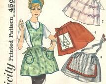 1960s Simplicity 4213 Vintage Sewing Pattern Misses Half Apron, Tea Apron, Hostess Apron, Cobbler Apron One Size