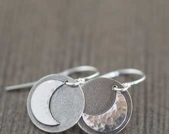 Moon earrings crescent moon earrings hammered earrings metal earrings sterling silver earrings gifts for her