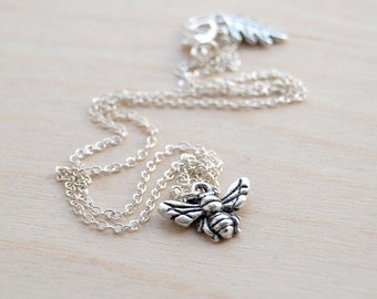 Teeny Tiny Silver Bee Charm Necklace | Cute Honey Bee Charm Necklace | Dainty Bee Necklace