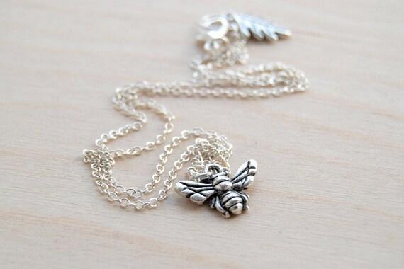 Teeny Tiny Silver Bee Charm Necklace
