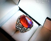 Silver Fire Opal Ring // Gothic Ring // Dragon's Breath Ring // Mexican Fire Opal // Gothic Ring // Victorian Ring