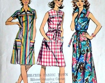 Misses' Smock-Dress in Two Lengths, Vintage 70's Simplicity 5028 Sewing Pattern, Size 18 1/2, Bust 41, Retro Summer Fashion