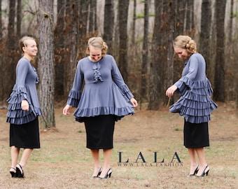 LillyAnnaKids Ladies ALEXANDRIA Ruffle Peplum Shirt Top Grey Lala Modest