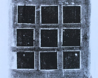 Collagraph Monoprint Nine Black Squares