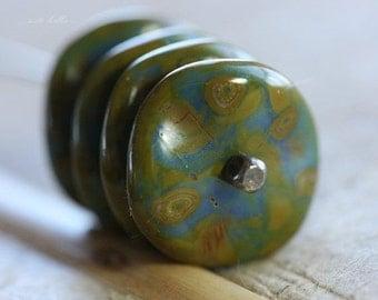 BLUE RIPPLES .. 6 Premium Picasso Czech Glass Ripple Beads 12mm (4494-6)