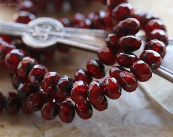 RED HOT TOTS .. 30 Premium Picasso Czech Rondelle Glass Beads 3x5mm (4764-st)