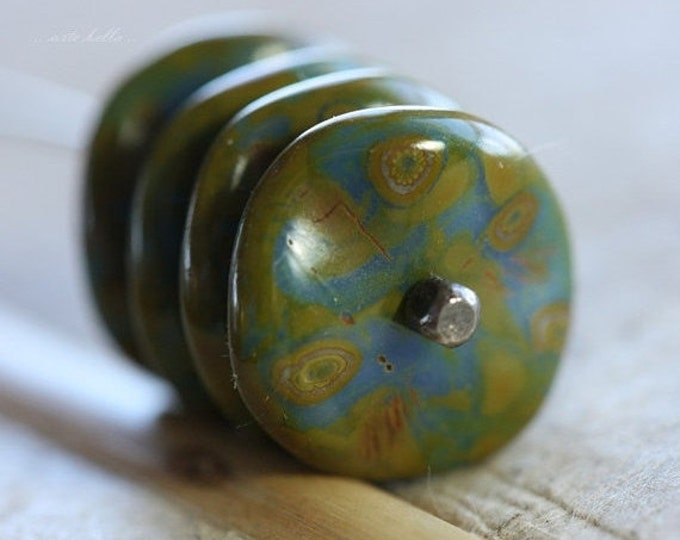 sale .. BLUE RIPPLES .. 6 Premium Picasso Czech Glass Ripple Beads 12mm (4494-6)