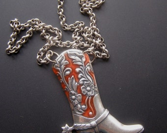 Cowgirl Necklace, Cowboy Boot Necklace, Cowgirl Boot Necklace, Western Boot Necklace, Silver Boot Pendant, Red Enamel Jewelry