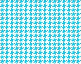 Turquoise Blue Houndstooth Mini Print Fabric By The Yard - Cotton