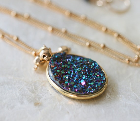Druzy Necklace - Drusy Necklace - Blue Druzy Necklace - Titanium Druzy