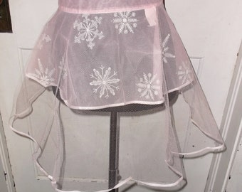 50s 60s Vintage Pink Sheer Cocktail or Party Half Apron with Snowflakes and Glitter