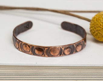 """Circle In A Square Cuff, 1/4"""" recycled copper cuff, cuff, copper jewelry, recycled, copper, stamped copper bracelet, stacylynnc, handmade"""