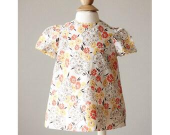 1960s Autumn Floral Dress >>> Size 3 Months