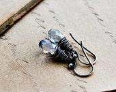 Ice Blue Earrings, Drop Earrings, Swarovski Crystal, Sterling Silver, Dangle Earrings, Wire Wrapped, Pastel Blue, Crystal Earrings